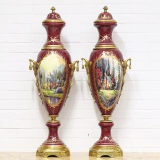 Casa Padrino Deko Vasen Bordeauxrot / Gold 30 x H. 100 cm - Barockstil Porzellan Vasen Set