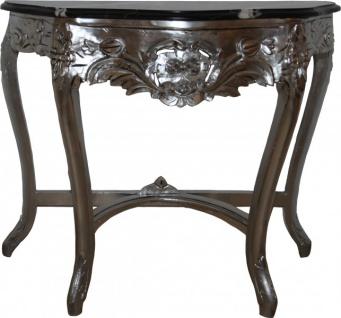 Casa Padrino Barock Konsolentisch mit Marmorplatte Silber / Schwarz - Barock Möbel