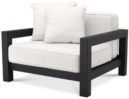 Casa Padrino Luxus Garten Sessel mit Kissen Schwarz / Weiß 101 x 100 x H. 72 cm - Garten Terrassen Hotel Möbel - Luxus Qualität