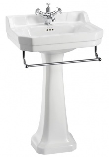 Casa Padrino Porzellan Waschbecken mit Sockel und Handtuchhalter - Jugendstil Design