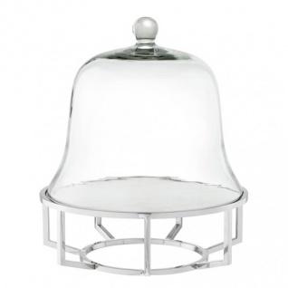 Casa Padrino Luxus Art Deco Kuchenglocke Edelstahl vernickelt mit weißem Marmor und Glasdeckel - Kuchen Ständer