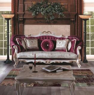 Casa Padrino Luxus Barock Couchtisch mit Glasplatte Creme / Gold 100 x 80 x H. 45 cm - Massivholz Wohnzimmertisch - Wohnzimmer Möbel im Barockstil