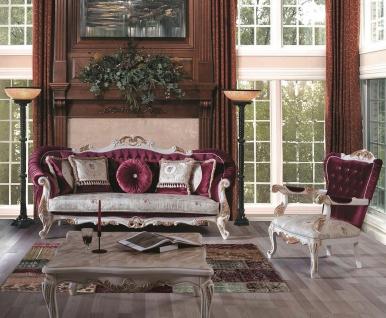 Casa Padrino Luxus Barock Wohnzimmer Set Purpur / Creme / Gold - 2 Sofas & 2 Sessel & 1 Couchtisch - Prunkvolle Möbel im Barockstil