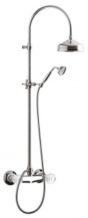 Luxus Badezimmer Duschgarnitur mit Swarovski Kristallglas Silber - Jugendstil Retro Dusch und Wannen Armatur Chrom Brauseset