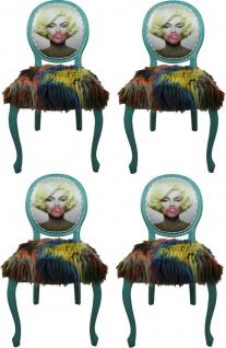 Casa Padrino Luxus Barock Esszimmer Set Marilyn Monroe Bubble Gum Crazy Mehrfarbig / Grün 50 x 60 x H. 104 cm - 4 handgefertigte Esszimmerstühle mit Kunstfell und Bling Bling Glitzersteinen