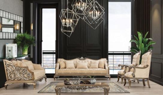 Casa Padrino Luxus Barock Wohnzimmer Set Beige / Gold / Braun / Silber - 2 Sofas & 2 Sessel & 1 Couchtisch - Handgefertigte Barock Wohnzimmer Möbel - Edel & Prunkvoll