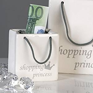 Designer Spardose Handtasche aus Keramik Weiss/Silber Shopping Princess - Tolle Geschenkidee
