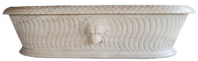 Casa Padrino Luxus Barock Badewanne Löwenkopf Weiß 204 x 107 x H. 53 cm - Freistehende Marmor Badewanne - Bad Accessoires - Edel & Prunkvoll