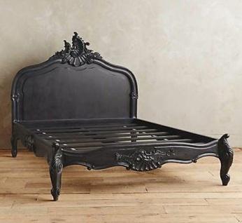 Casa Padrino Barock Bett Schwarz 180 x 200 cm - Made in Europe