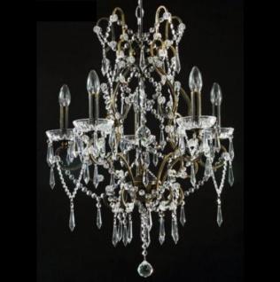 Casa Padrino Barock Decken Kristall Kronleuchter Bronze 57 x H 73 cm Antik Stil - Möbel Lüster Leuchter Hängeleuchte Hängelampe