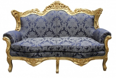 Casa Padrino Barock 2er Sofa Master Royal Blau Muster / Gold 2Mod - Wohnzimmer Couch Möbel Lounge