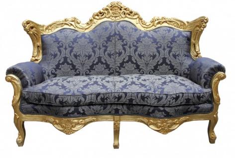 Casa Padrino Barock 2er Sofa Master Royal Blau Muster / Gold 2Mod - Wohnzimmer Couch Möbel Lounge - Vorschau