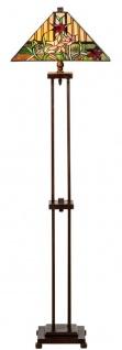 Casa Padrino Luxus Tiffany Stehleuchte Braun / Mehrfarbig 40 x 40 x H. 145 cm - Handgefertigt Tiffany Lampe aus 484 Teilen