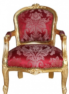 Casa Padrino Barock Kinder Stuhl Bordeauxrot Muster /Gold - Armlehnstuhl - Antik Stil Möbel