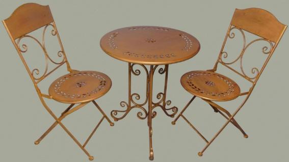 Casa Padrino Jugendstil Gartenmöbel Set Rustikal Braun - 1 Tisch & 2 Stühle - Barock & Jugendstil Gartenmöbel