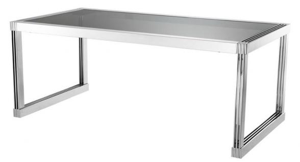Casa Padrino Luxus Esstisch in silber mit Rauchglas 195 x 100 x H. 78 cm - Luxus Qualität - Vorschau 1