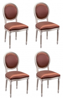 Casa Padrino Luxus Barock Esszimmer Set Creme / Gold / Orange 49 x 43, 5 x H. 98 cm - 4 Esszimmerstühle - Esszimmermöbel - Vorschau 1