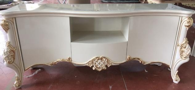 Casa Padrino Luxus Barock TV Schrank Weiß / Gold - Handgefertigter Fernsehschrank mit 2 Türen und Schublade - Barock Wohnzimmer Möbel