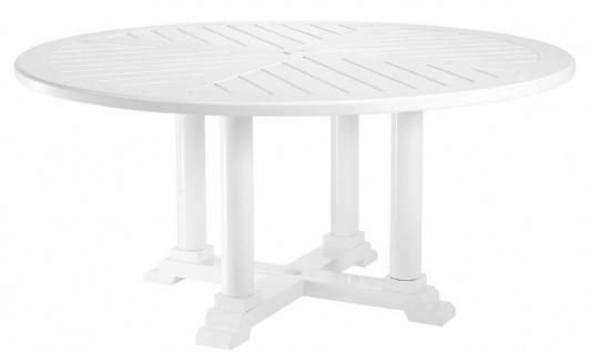 Casa Padrino Luxus Esstisch Weiß Ø 160 x H. 75 cm - Runder Küchentisch aus hochwertigen strapazierbarem Aluminium - Gartentisch