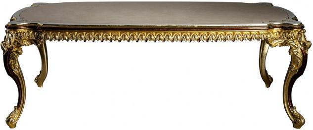 Casa Padrino Luxus Barock Esstisch Weiß / Creme / Rot / Gold 230 x 105 x H. 80 cm - Prunkvoller Massivholz Esszimmertisch - Esszimmer Möbel im Barockstil