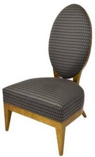 Casa Padrino Luxus Salon Sessel Silber / Schwarz / Hellbraun 65 x 77 x H. 114 cm - Luxus Qualität