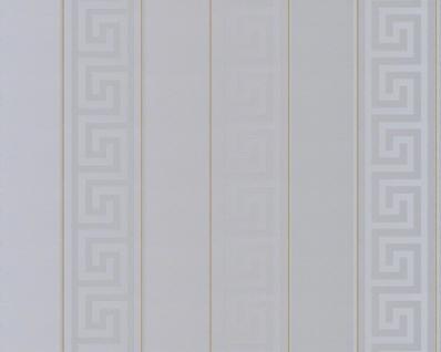 Versace Designer Barock Tapete Home Collection 935245 Jugendstil Vliestapete Vlies Tapete Mäander Streifen Muster Silber