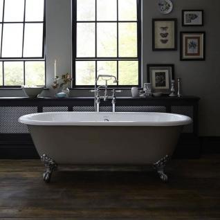 Casa Padrino Luxus Gusseisen Badewanne Hellgrau / Weiß 170 cm - Gebogene freistehende Badewanne - Barock & Jugendstil Badezimmer Möbel