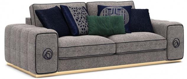 Casa Padrino Luxus Wohnzimmer Sofa Grau / Schwarz / Gold 220 x 100 x H. 65 cm - Edle Wohnzimmer Möbel - Luxus Möbel