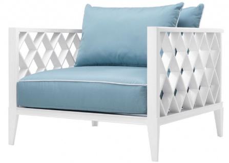 Casa Padrino Luxus Wohnzimmer Sessel mit Kissen Weiß / Hellblau 96, 5 x 93, 5 x H. 68, 5 cm - Wohnzimmer Möbel