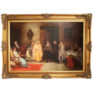 """Riesiges Handgemaltes Barock Öl Gemälde """" die Geburt"""" Gold Prunk Rahmen 225 x 165 x 10 cm - Massives Material"""