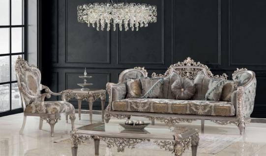 Casa Padrino Luxus Barock Wohnzimmer Set Grau / Silber / Gold - 2 Sofas & 2 Sessel & 1 Couchtisch & 2 Beistelltische - Handgefertigte Wohnzimmer Möbel im Barockstil - Edel & Prunkvoll