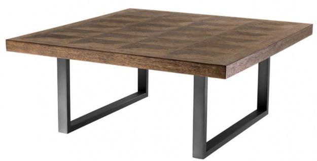 Casa Padrino Couchtisch Braun / Bronze 100 x 100 x H. 43 cm - Luxus Wohnzimmertisch mit Eichenfurnier Tischplatte