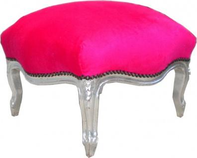 Barock Sitzhocker Pink / Silber Medium - Vorschau 2
