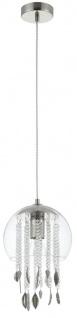 Casa Padrino Hängeleuchte Silber Ø 20 x H. 35 cm - Pendelleuchte mit Kristallbehängen und Metallblüten