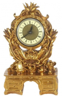 Casa Padrino Barock Tischuhr Gold 16 x 5 x H. 26 cm - Barock Deko Accessoires