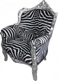 "Casa Padrino Barock Sessel "" Lord"" Mod1 Zebra/ Silber Antik Stil - Vorschau 2"