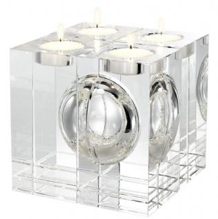 Casa Padrino Luxus Kristallglas Teelichthalter Set 10 x 10 x H. 20 cm - Deko Accessoires - Luxus Qualität
