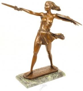 Casa Padrino Luxus Bronze Skulptur Amazonen Kämpferin Bronzefarben / Grau 51, 8 x 13, 8 x H. 47, 7 cm - Bronzefigur mit Marmorsockel - Dekofigur