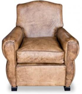 Casa Padrino Echtleder Sessel Buffalo Leder / Antik-Braun - Clubsessel - Lounge Sessel - Vintage