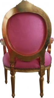 Casa Padrino Luxus Barock Medaillon Salon Stuhl Rosa / Gold - Möbel Antik Stil - Vorschau 2