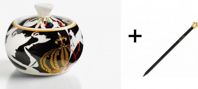 Harald Glööckler Porzellan Zuckerdose Mod1 + Luxus Bleistift von Casa Padrino - Barock Dekoration