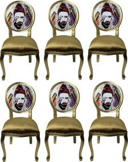 Pompöös by Casa Padrino Luxus Barock Esszimmerstühle Gold / Mehrfarbig 50 x 60 x H.104 cm - Pompööse Barock Stühle designed by Harald Glööckler - 6 Esszimmerstühle