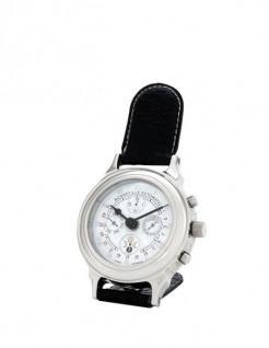 Casa Padrino Designer Luxus Uhr Nickel finish mit schwarzem Leder 10 x H. 16 cm - Hotel Dekoration - Vorschau 1
