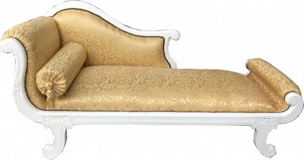 Casa Padrino Barock Chaiselongue Modell XXL Gold Muster / Weiß - Recamiere Wohnzimmer Möbel
