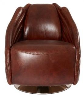 Casa Padrino Luxus Drehsessel Dunkelbraun / Silber 69 x 97 x H. 79 cm - Echtleder Sessel im Art Deco Design - Vorschau 2