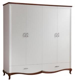 Casa Padrino Luxus Art Deco Schlafzimmerschrank Weiß / Dunkelbraun 204, 4 x 62, 5 x H. 209, 5 cm - Kleiderschrank mit 4 Türen und 2 Schubladen - Schlafzimmermöbel