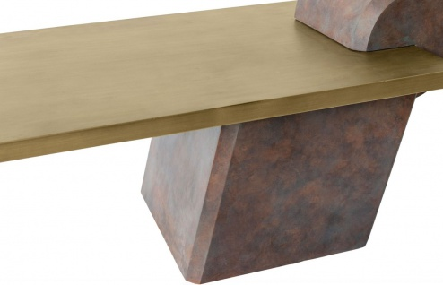 Casa Padrino Designer Couchtisch Messing / Antik Kupfer 115 x 60 x H. 53 cm - Wohnzimmertisch aus Glasfaserverstärktem Beton - Luxus Qualität - Vorschau 5