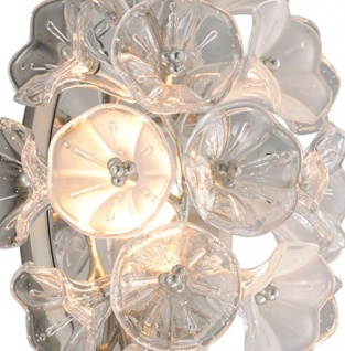 Casa Padrino Designer LED Wandleuchte Silber 22, 9 x 17, 8 x H. 45 cm - Metall Leuchte mit hangefertigtem Glas im Blumendesign - Luxus Kollektion - Vorschau 2
