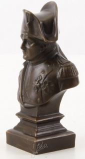 Casa Padrino Luxus Bronze Büste Napoleon 7, 7 x 7, 2 x H. 20 cm - Dekofigur - Bronze Skulptur - Bronzefigur - Vorschau 2