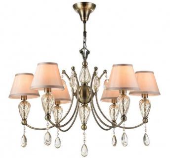 Casa Padrino Barock Kristall Kronleuchter Antik Bronze / Champagnerfarben / Grau Ø 80 x H. 55 cm - Prunkvoller Kronleuchter im Barockstil - Vorschau 2